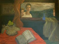 An oil painting by Maeve Gilmore, 1940, depicting elements from her life of real value to her; music, other painters work, and one of the vertibra from the beached whale found by Mervyn on a Sark beach in the 1930's