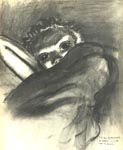 Dying girl at Belsen , 1945, in charcoal.