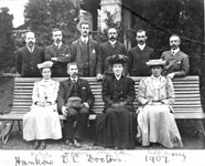 Dr. Peake (back row second from left) with medical team, Hengchow, 1907