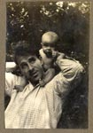 Sebastian on father's shoulders, Burpham, Sussex 1940